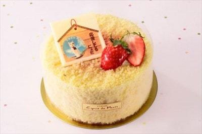 口どけなめらかなチーズムースに、いちごジュレを閉じ込めた「泡雪フロマージュ(いちご)(税込1,620円)」。 にゃらんの応援コメントが書かれたチョコプレートが目印です。/エスプリ・ドゥ・パリ/販売期間:1月4日(月)~1月31日(日)