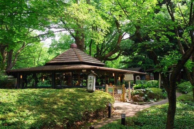 日本庭園の中にある、隠れ家的な鉄板焼き店「石心亭」。